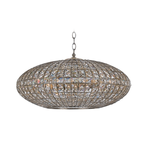 Crystorama Lighting Crystal Drum Pendant Light with Clear Glass in Antique Silver Finish 347-SA
