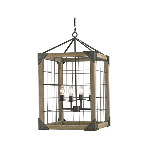 Currey and Company Lighting Modern Pendant Light in Old Iron/natural Ash Finish 9083