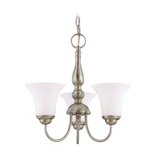 Nuvo Lighting Mini-Chandelier with White Glass in Brushed Nickel Finish 60/1901