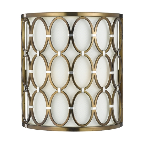 AF Lighting Sconce Wall Light with Beige / Cream Cage Shade in Satin Brass Finish 8220-2W