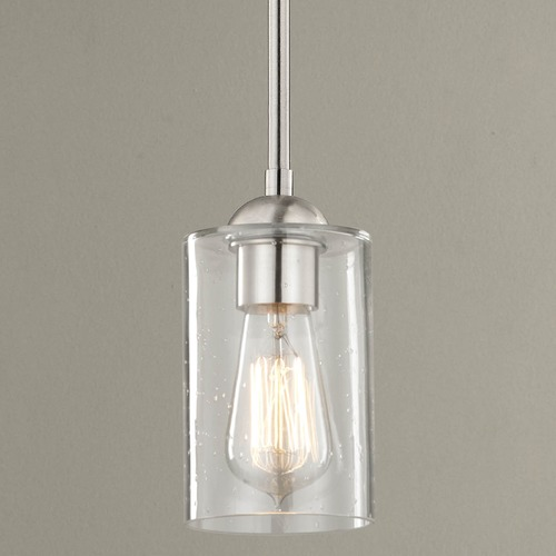 Design Classics Lighting Design Classics Gala Fuse Satin Nickel Mini-Pendant Light with Cylindrical Shade 581-09 GL1041C
