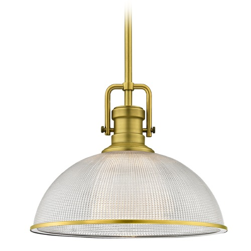 Design Classics Lighting Industrial Prismatic Pendant Light Satin Brass Finish  13.13-Inch Wide 1763-12 G1780-FC R1780-12