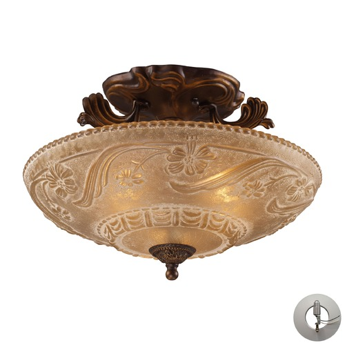 Elk Lighting Restoration Flushes Golden Bronze Semi-Flushmount Light - Includes Recessed Adapter Kit 08100-AGB-LA