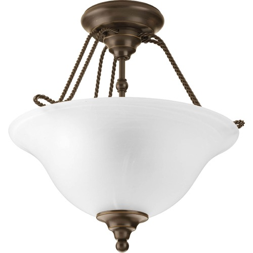 Progress Lighting Pendant Light with Alabaster Glass in Antique Bronze Finish P3467-20