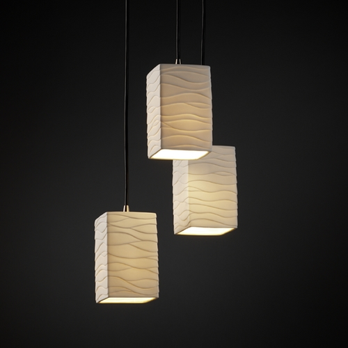 Justice Design Group Justice Design Group Limoges Collection Multi-Light Pendant POR-8864-15-WAVE-NCKL