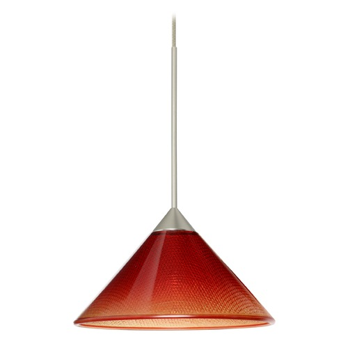 Besa Lighting Besa Lighting Kona Satin Nickel LED Mini-Pendant Light with Conical Shade 1XT-117681-LED-SN