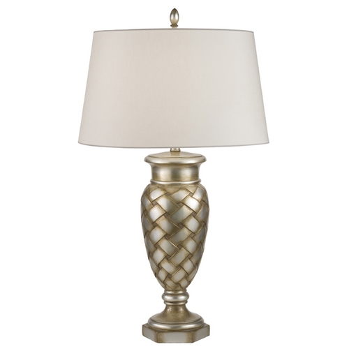 Fine Art Lamps Fine Art Lamps Recollections Antiqued, Gold-Stained Silver Leaf Table Lamp with Drum Shade 829010ST