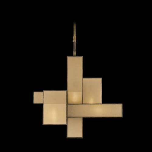 Fine Art Lamps Fine Art Lamps Perspectives Patinated Golden Bronze Pendant Light with Rectangle Shade 731840GU