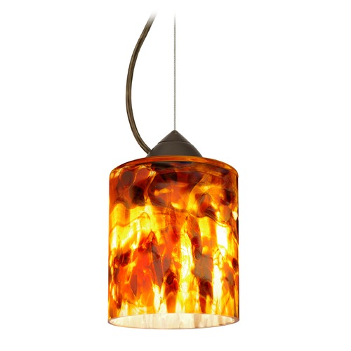 Besa Lighting Besa Lighting Falla Bronze Mini-Pendant Light with Cylindrical Shade 1KX-FAL6CF-BR