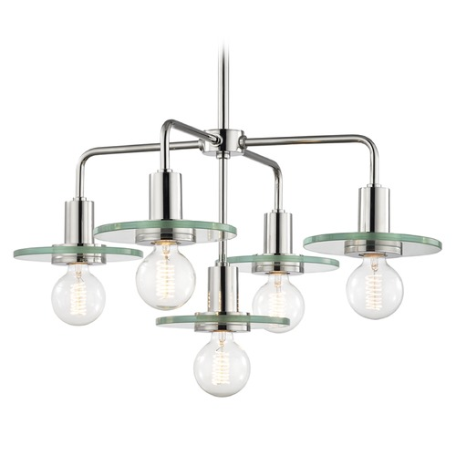 Hudson Valley Lighting Mid-Century Modern Chandelier  Polished Nickel Mitzi by Hudson Valley H113805-PN