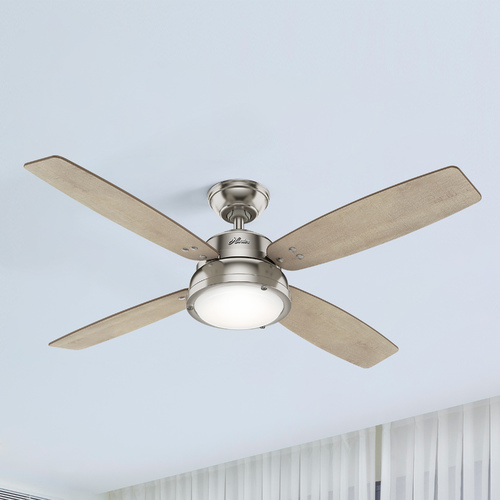 Hunter Fan Company Hunter 52-Inch Brushed Nickel LED Ceiling Fan with Light with Hand-Held Remote 59439