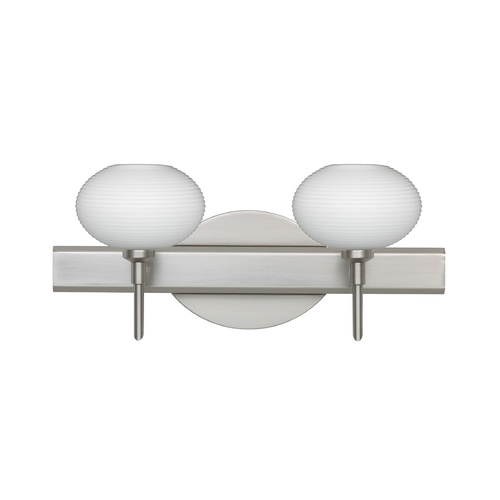 Besa Lighting Modern Bathroom Light with White Glass in Satin Nickel Finish 2SW-561207-SN