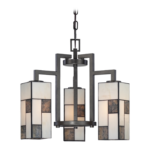 Designers Fountain Lighting Chandelier with Art Glass in Charcoal Finish 84183-CHA