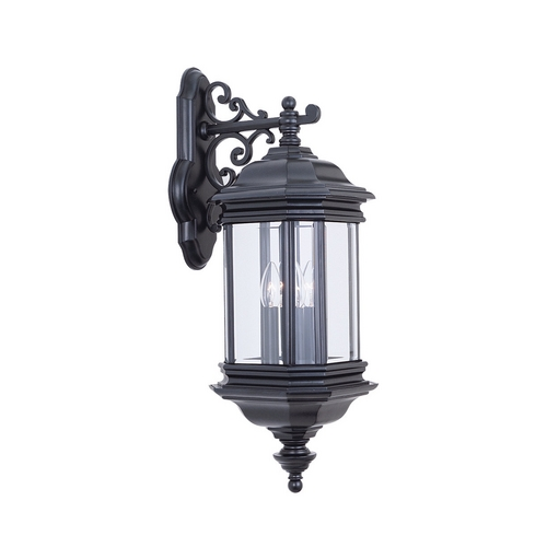 Sea Gull Lighting Outdoor Wall Light with Clear Glass in Black Finish 8841-12