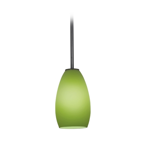 Access Lighting Modern Mini-Pendant Light with Green Glass 28012-1R-ORB/LGR