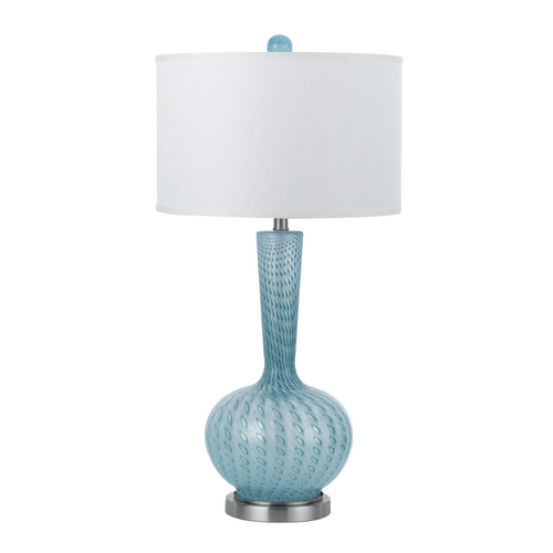 AF Lighting Table Lamp with White Shade in Nickel Finish 8224-TL