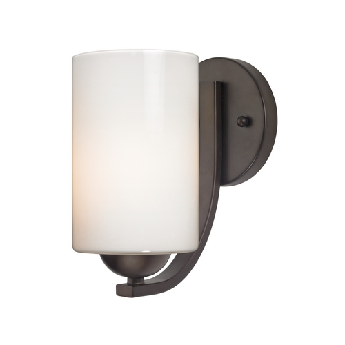 Design Classics Lighting Contemporary Wall Sconce with Opal White Cylinder Glass in Bronze 585-220 GL1024C