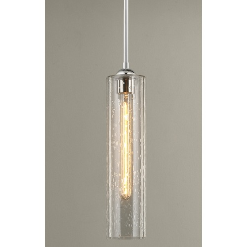 Design Classics Lighting Chrome Mini-Pendant Light with Clear Seedy Cylinder Glass 581-26 GL1641C