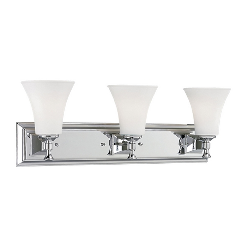 Progress Lighting Progress Bathroom Light with White Glass in Chrome Finish P3133-15
