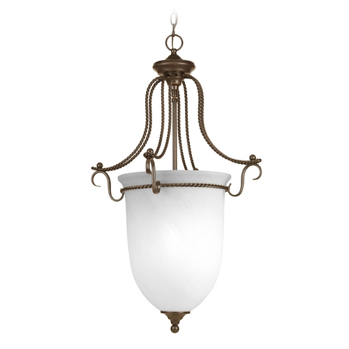 Progress Lighting Pendant Light with Alabaster Glass in Antique Bronze Finish P3785-20