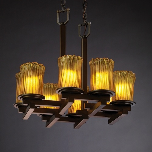 Justice Design Group Justice Design Group Veneto Luce Collection Chandelier GLA-8770-16-AMBR-DBRZ