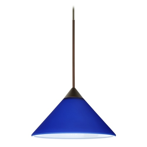 Besa Lighting Besa Lighting Kona Bronze LED Mini-Pendant Light with Conical Shade 1XT-117687-LED-BR