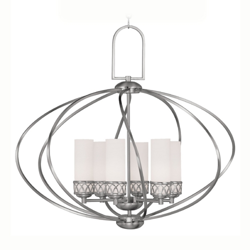 Livex Lighting Livex Lighting Westfield Brushed Nickel Pendant Light with Cylindrical Shade 4726-91