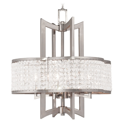 Livex Lighting Livex Lighting Grammercy Brushed Nickel Pendant Light with Scalloped Shade 50575-91