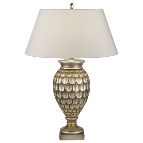 Fine Art Lamps Fine Art Lamps Recollections Antiqued, Gold-Stained Silver Leaf Table Lamp with Empire Shade 829210-2ST
