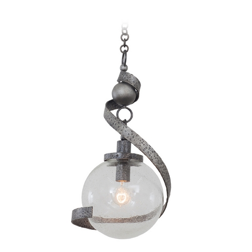 Kalco Lighting Kalco Lighting Odessa Hammered Silver Pendant Light with Globe Shade 7277HS