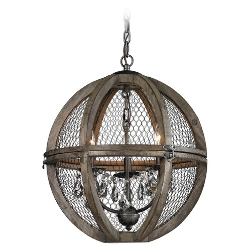 Dimond Lighting Small Renaissance Invention Wood And Wire Chandelier 140-007