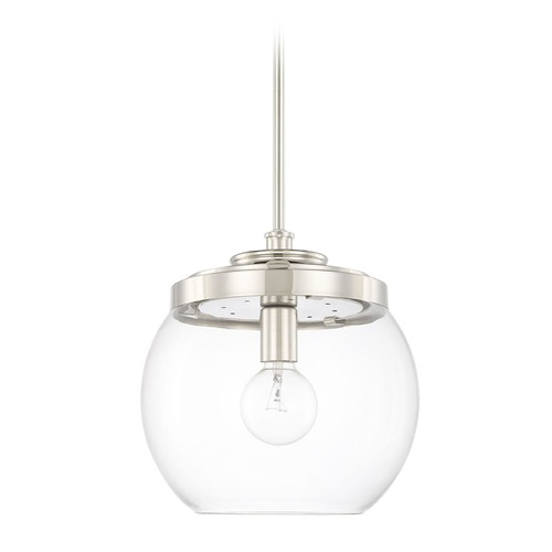 Capital Lighting Capital Lighting Mid-Century Polished Nickel Pendant Light with Bowl / Dome Shade 321111PN