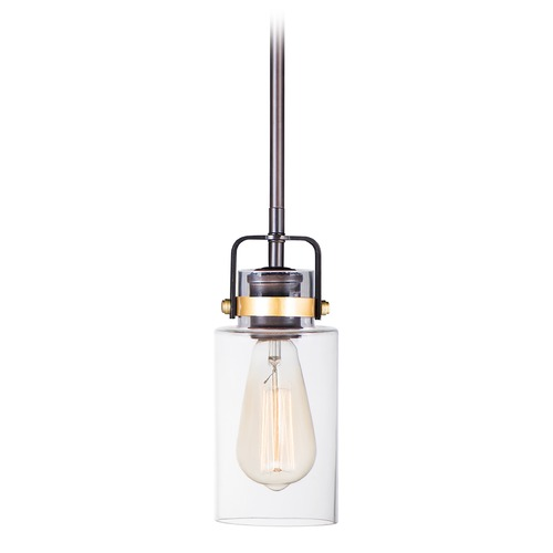 Maxim Lighting Maxim Lighting Magnolia Bronze / Gold Mini-Pendant Light with Cylindrical Shade 91070CLBZGLD