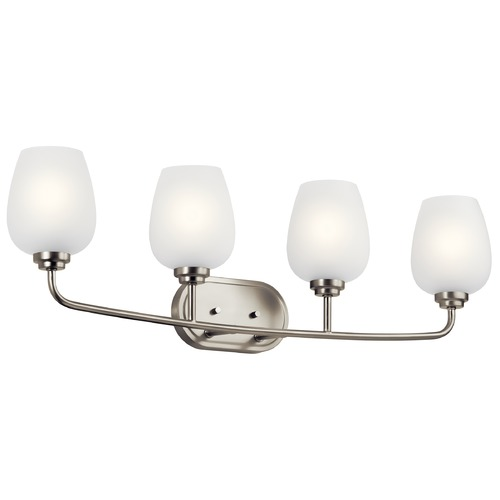 Kichler Lighting Valserrano Brushed Nickel 4-Light Bathroom Light with Satin Etched Glass 45130NI