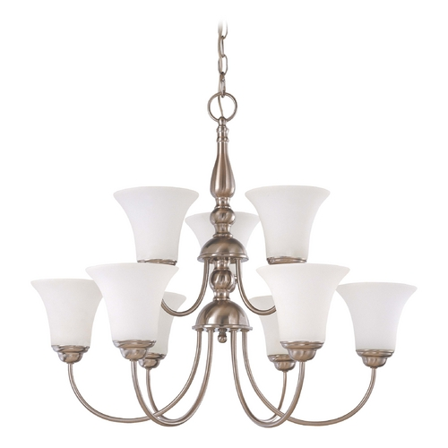 Nuvo Lighting Chandelier with White Glass in Brushed Nickel Finish 60/1903