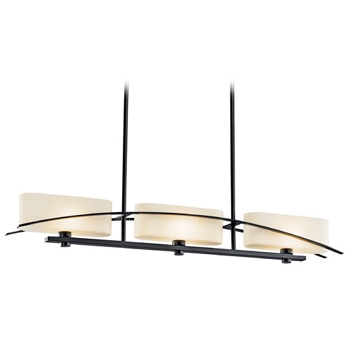 Kichler Lighting Kichler Linear Island Pendant Light with White Glass in Black Finish 42017BK