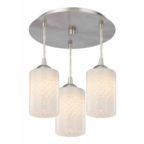 Design Classics Lighting 3-Light Semi-Flush Ceiling Light with White Art Glass - Nickel Finish 579-09 GL1020C
