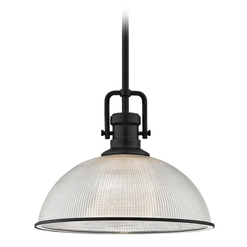 Design Classics Lighting Industrial Prismatic Pendant Light Black Finish  13.13-Inch Wide 1763-07 G1780-FC R1780-07