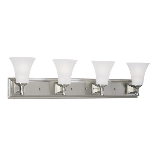 Progress Lighting Progress Bathroom Light with White Glass in Brushed Nickel Finish P3134-09
