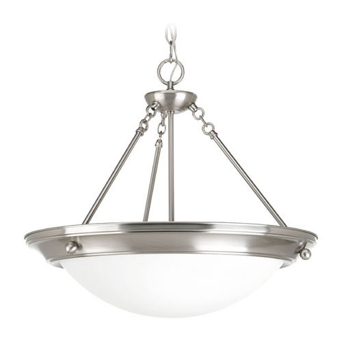 Progress Lighting Pendant Light with White Glass in Brushed Nickel Finish P3573-09