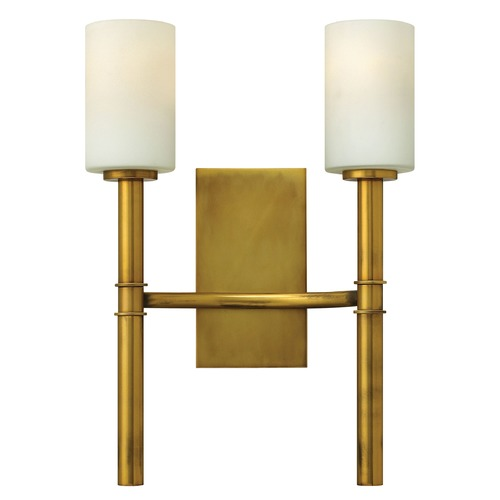 Hinkley Lighting Sconce Wall Light with White Glass in Vintage Brass Finish 3582VS