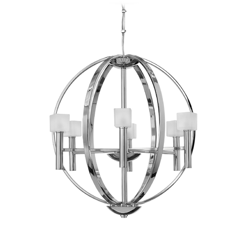 Frederick Ramond Modern Pendant Light with White Glass in Polished Chrome Finish FR49296PCM