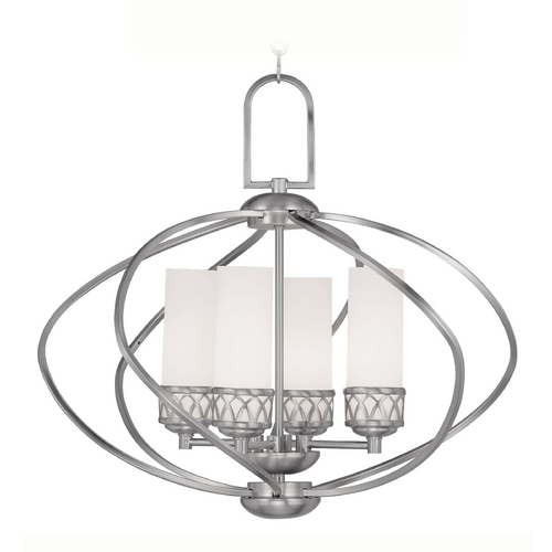 Livex Lighting Livex Lighting Westfield Brushed Nickel Pendant Light with Cylindrical Shade 4724-91