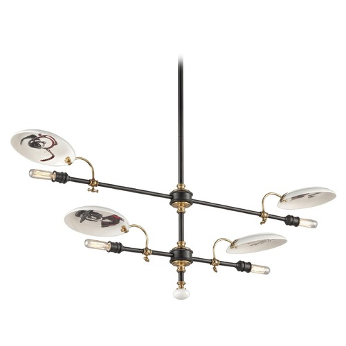 Troy Lighting Troy Lighting Dinner Date Dark Bronze with Antique Brass Pendant Light F4694