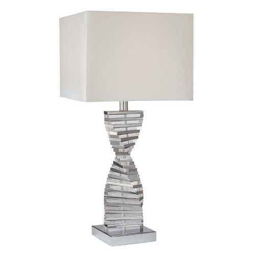 George Kovacs Lighting Modern Table Lamp with White Shade in Chrome Finish P742-077