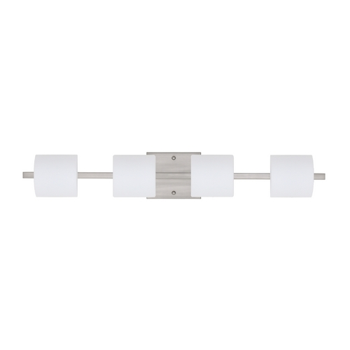 Besa Lighting Modern Bathroom Light with White Glass in Satin Nickel Finish 4WS-787307-SN