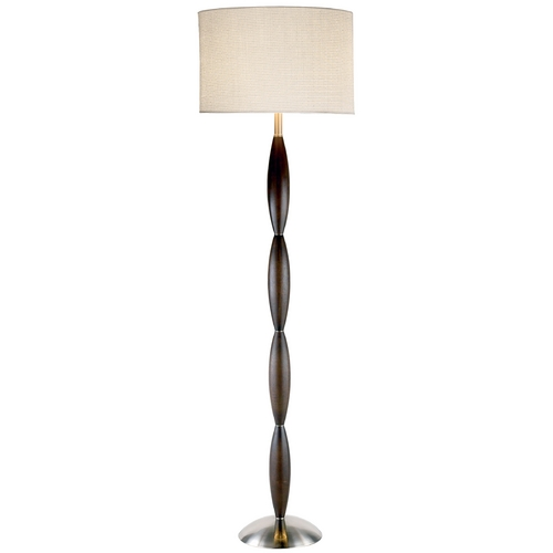 Adesso Home Lighting Modern Floor Lamp with White Shade in Dark Walnut Finish 4021-15