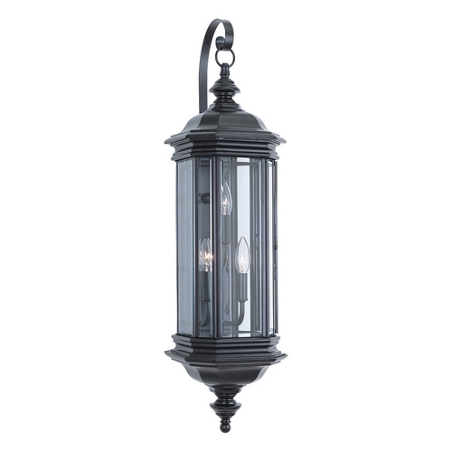 Sea Gull Lighting Outdoor Wall Light with Clear Glass in Black Finish 8842-12