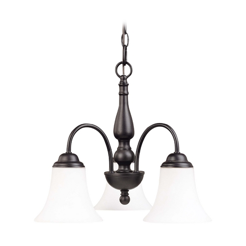 Nuvo Lighting Bronze Fluorescent Mini-Chandelier Light with Bell Glass Shades 60/1921