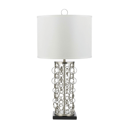 AF Lighting Table Lamp with White Shade in Nickel Finish 8225-TL